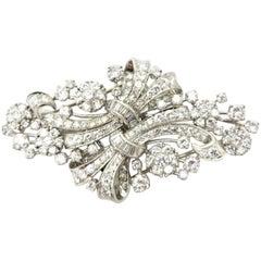 Antique Platinum 6.50 Carat Art Deco Style Floral Ribbon Diamond Clips Brooch
