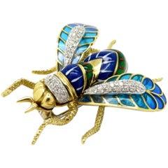Estate 18 Karat Two-Tone Diamond Plique A' Jour Enamel Bumblebee Brooch Pin