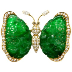 Designer Andrew Clunn Jadeite and Diamond 5.00 Carat Butterfly Brooch Pin 18K