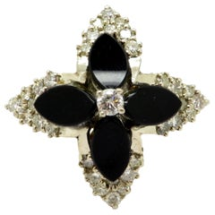 Estate 14 Karat Yellow Gold Onyx Flower Design Diamond Ring