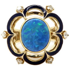 Retro Black Opal and Diamond 10 Karat Yellow Gold Fashion Ring