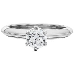 Tiffany Platinum single stone/Solitaire round brilliant 0.69ct H IF diamond ring