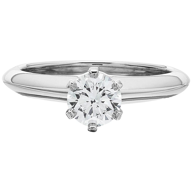 Tiffany Platinum single stone/Solitaire round brilliant 0.69ct H IF diamond ring For Sale