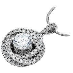 GIA certified 1.6ct D VS1 Single Stone Round Diamond Trinity Pendant Platinum