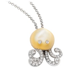 Vintage Octopus Necklace Diamond Mother of Pearl 18 Karat Gold Estate Jewelry