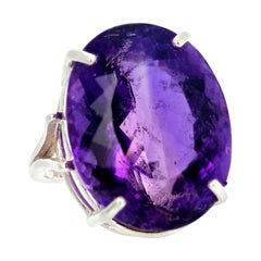 Gemjunky Magnificent Large 30.2 Cts Intense Purple Amethyst Sterling Silver Ring