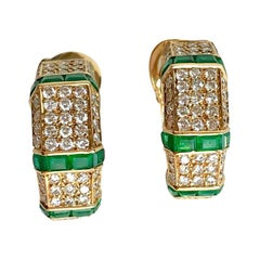 Piaget 18 Carat Yellow Gold Diamonds and Emerald Earrings