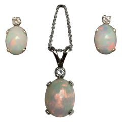 White Opal and Diamond 2.26 Carat White Gold Matching Pendant Earring Set
