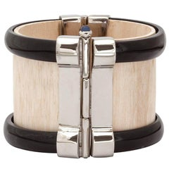 Cuff Bracelet Art Deco Horn Sapphire Fouche