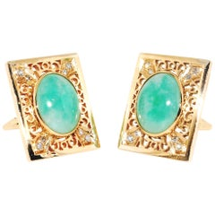 Jadeite and Diamond 14 Karat Yellow Gold Cuff-Links