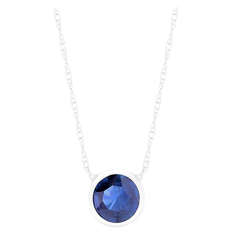 White Gold Bezel-Set Sapphire Pendant Necklace Weighing 1.25 Carat