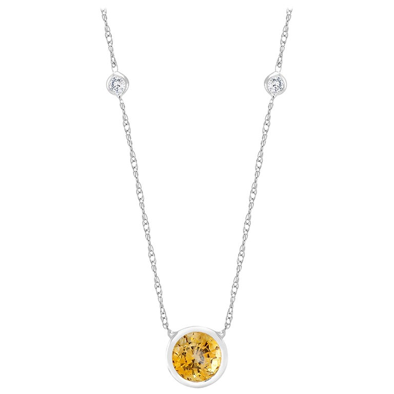 White Gold Bezel Set Diamond Yellow Sapphire Pendant Necklace For Sale