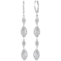 Marquise Shape Diamond Hoop Drop Earrings Weighing 1.47 Carat