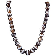 Antique Victorian Bullseye Agate Bead Necklace, circa 1900
