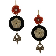 Coral Mother of Pearl Flowers,Onyx,Diamonds,Emeralds,Pearl, Gold Silver Earrings