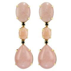Peach Moonstone 18 Karat Gold Elegant Dangle Earrings