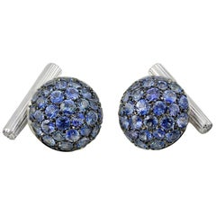 Blue Sapphires Diamond Gold Cufflinks Handcrafted by Margherita Burgener, Italy