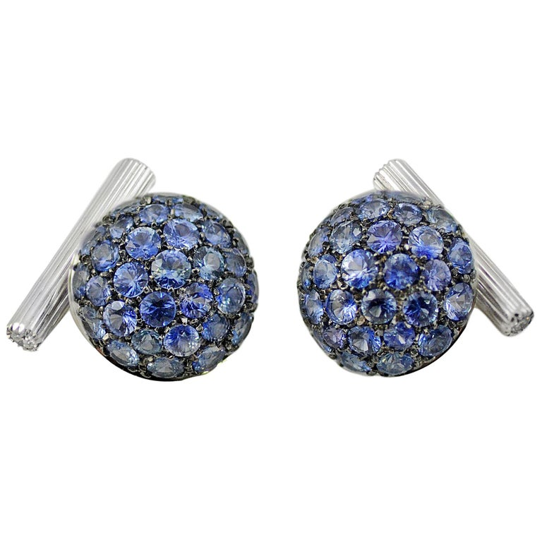 Blue Sapphires Diamond Gold Cufflinks Handcrafted by Margherita Burgener, Italy For Sale