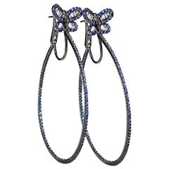 Blue Sapphires Diamonds 18 Karat Gold Hoop Earrings