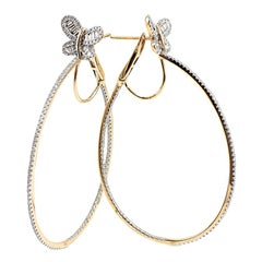White Diamonds 18 Karat Gold Hoop Earrings
