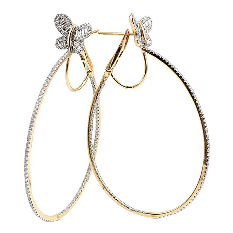 White Diamonds 18 Karat Gold Hoop Earrings For Sale