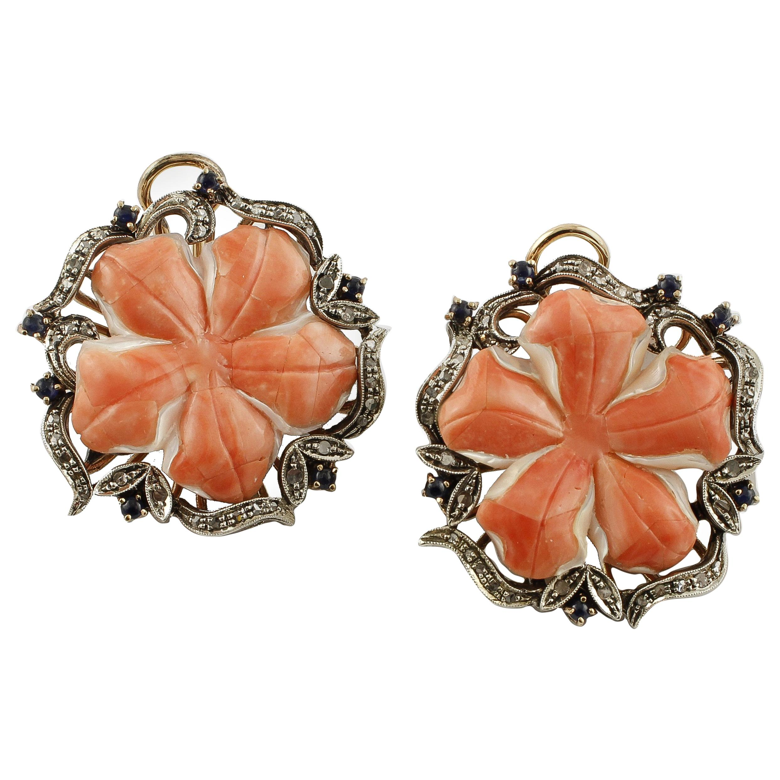 Red Coral Flowers, Diamonds, Blue Sapphires, 9K Rose Gold and Silver Earrings