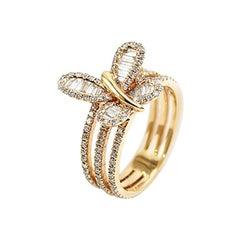 White Diamonds 18 Karat Gold Butterfly Cocktail Ring