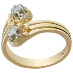1960s Diamond and Yellow Gold Twist Ring
