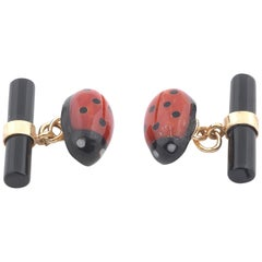 Gold Onyx and Coral Ladybug Cufflinks