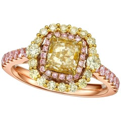 GIA Certified 1.22 Carat Fancy Light Brown Yellow Diamond Cushion Cut Ring