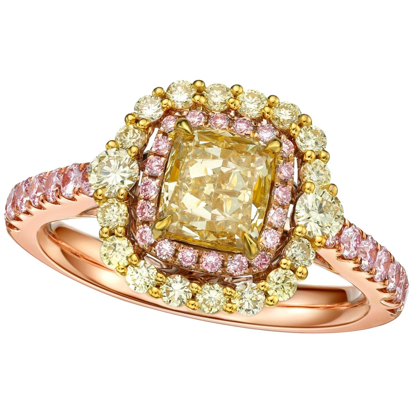 GIA Certified 1.22 Carat Fancy Light Brown Yellow Diamond Cushion Cut Ring