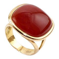 Red Agate 18 Karat Gold Cocktail Ring