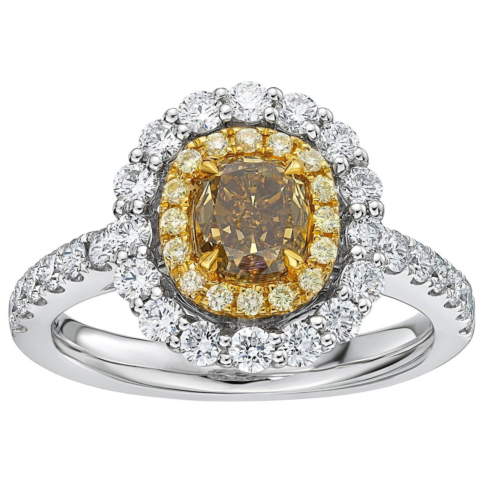 GIA Certified 1.15 Carat Fancy Deep Brownish Greenish Yellow Diamond Ring