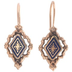 Pair of Enamel Pendent Earrings, circa 1850