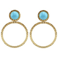 Natural Turquoise 18 Karat Gold Hoop Earrings