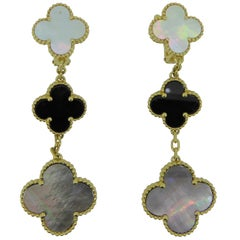 Van Cleef & Arpels Alhambra Mother of Pearl 18 Carat Yellow Gold Ear Clips