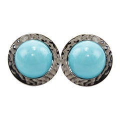Natural Turquoise 18 Karat Gold Stud Earrings