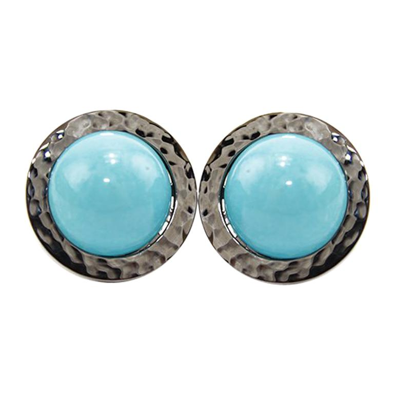Natural Turquoise 18 Karat Gold Stud Earrings For Sale