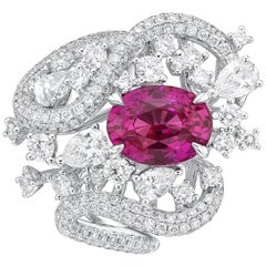 GRS Certified 3.6 Carat Unheated Pink Sapphire Ring from Sri Lanka