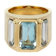 18ct Yellow Gold and Aquamarine Cocktail Ring