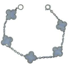 Van Cleef & Arpels Alhambra Chalcedony 18 Carat White Gold Bracelet