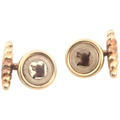 Gold and Enamel Dog Cufflinks
