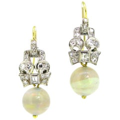 Opal and Diamonds Yellow Gold and Platinum Art Deco Style Earrings
