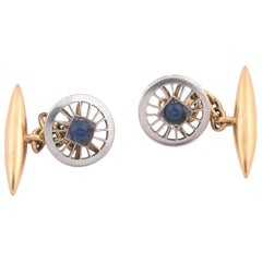 Antique Gold Platinum and Sapphire Cufflinks