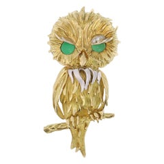 Vintage 1950s French Gold Owl with Diamond Eyebrow