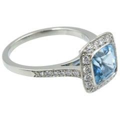Tiffany & Co. Legacy Ring, Aquamarine and Diamond Halo, Platinum Band