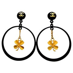 Chanel Black Rare Vintage Clover Dangle Hoop Clip-On Earrings