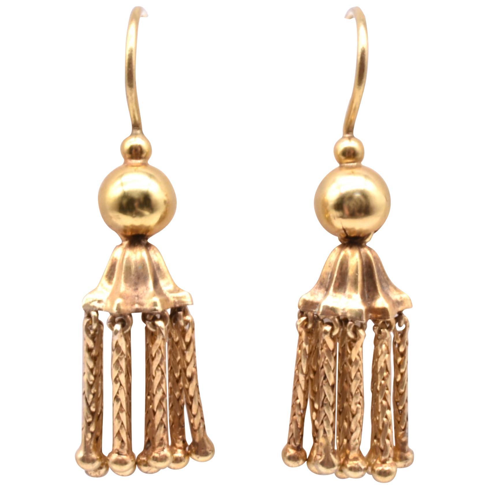Victorian 18 Karat Gold Tassel Drop Earrings