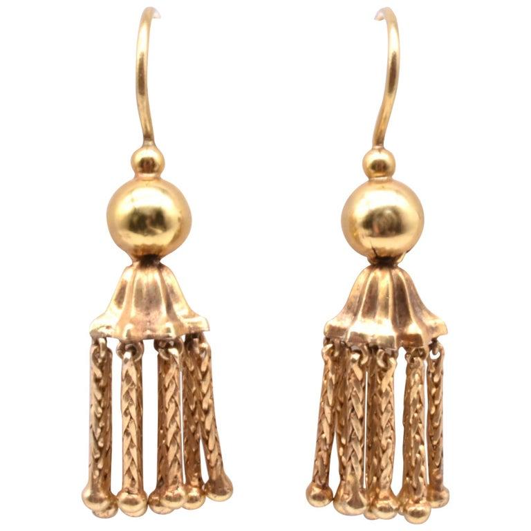 Victorian 18 Karat Gold Tassel Drop Earrings For Sale