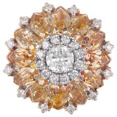 6.70 Carat Precious Topaz Diamond Yellow Gold Cocktail Cluster Ring